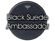 "Remo 15"" Black Suede Ambassador tom/ snare/ floortomvel BA-0815-ES"