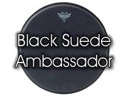 """Remo 16"""" Black Suede Ambassador snare/ floortomvel BA-0816-ES"""