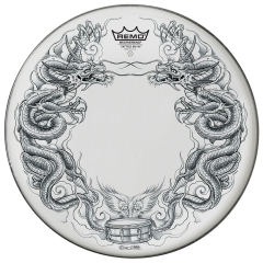 """Remo 14"""" snare batter, Tattoo Skyn black 'Dragon' graphic on Suede film TT-0814-A"""